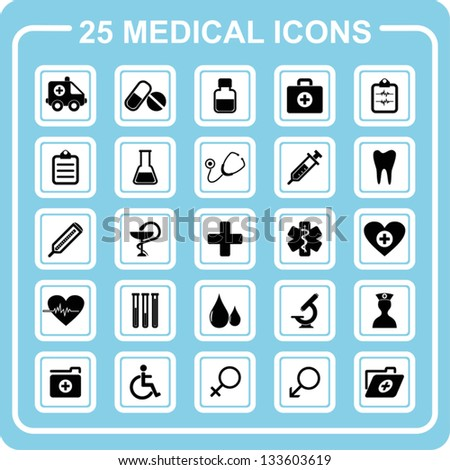 25 medical icons.