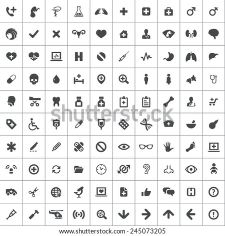 100 medical icons  black on