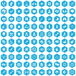 100 Medical icons, blue hexagon background
