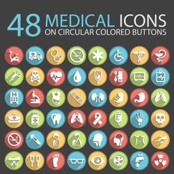 48 Medical Icons on Circular Colored Buttons.