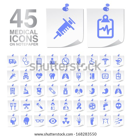 45 Medical Icons on Notepaper.