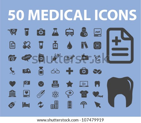 50 medical icons set, vector