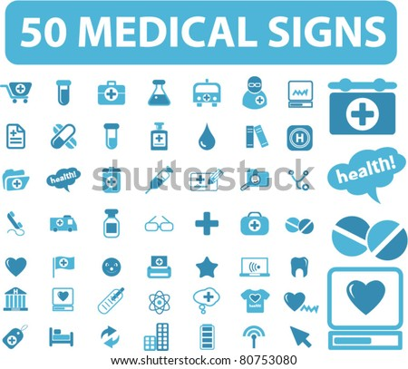 50 medical icons, signs, vector illustrations