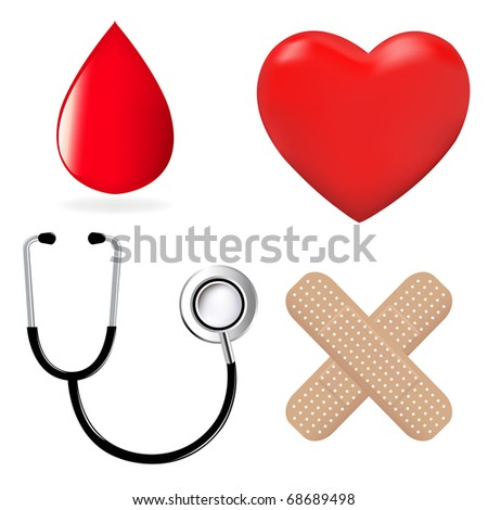 4 Medical Icons, Stethoscope, Plaster, Heart And Drop Of Blood,  Isolated On White Background, Vector Illustration