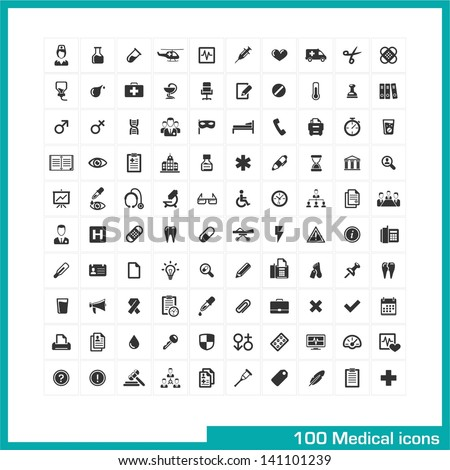 100 medical icons. Vector black pictograms for web, internet, computer, mobile apps, interface design: medicine personal, nurse, doctor, pill, thermometer, health, pharmacy, hospital, ambulance symbol