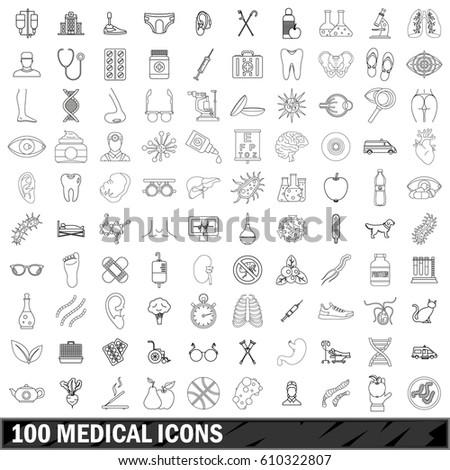 100 medical set in outline style for any design vector illustration
