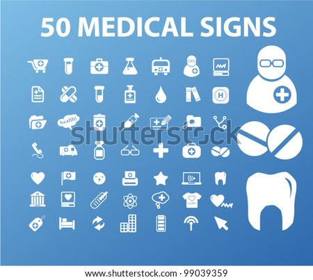 50 medical signs & icons set, vector - stock vector