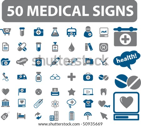 50 medical signs. vector