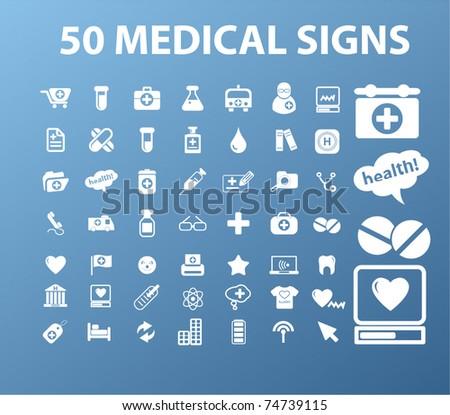 50 medical signs, vector
