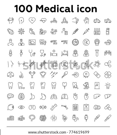 100 Medical thin line vector icon set
