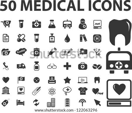 50 medicine, health care icons set, vector