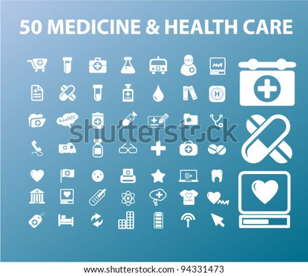 50 medicine & health care icons set, vectr - stock vector