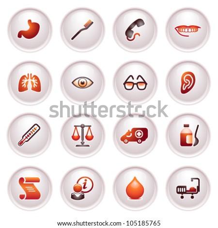 Medicine web icons. Black red series.