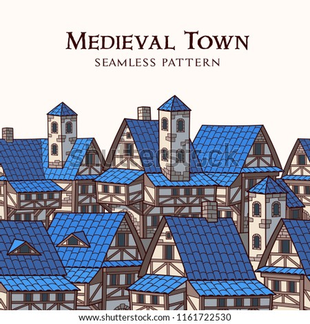 Medieval ancient city. Seamless pattern. Border ornament.
