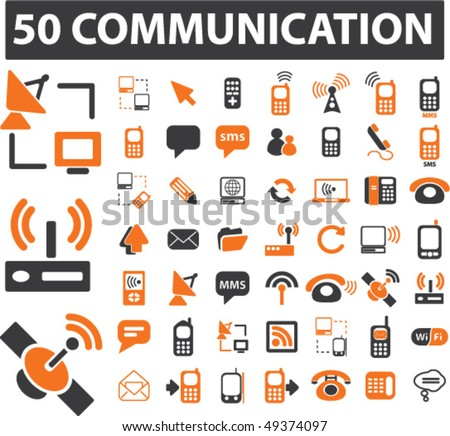50 mega communication signs. vector - stock vector