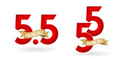 5.5 Mega sale, 5.5 online sale, with gradient red and golden ribbon applicable poster or flyer design, social media banner, online shop promotion, web banner store and retail, agency advertise media