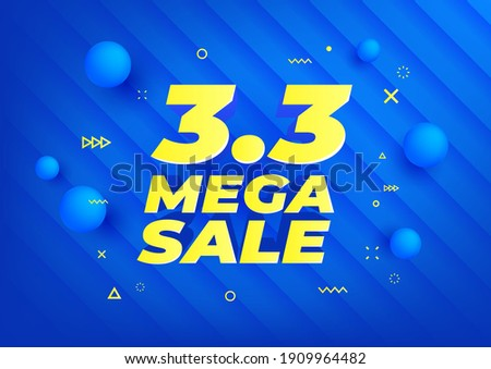 3.3 Mega Sale. Shopping day sale poster or flyer design. 3.3 online sale on blue background, Special offers and promotion template banner.