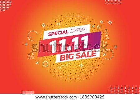 11.11 mega sale,singles daysale flyer,web banner, template.Crazy sales online.11.11 Shopping day sale poster or flyer design Foto stock ©
