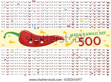 500 Mega set of cute kawaii emoticon face and chili pepper kawaii. Collection emoticon manga, cartoon style. Vector illustration. Adorable characters icons design.