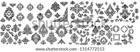 Mega Set of Oriental vector damask patterns for greeting cards and wedding invitations.  Сток-фото ©