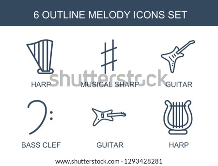 6 melody icons. Trendy melody icons white background. Included outline icons such as harp, musical sharp, guitar, bass clef. melody icon for web and mobile.