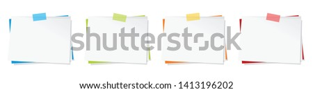 Memo (paper sticky note) with piece of tape (in 4 colors) Stockfoto ©