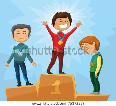 3 men - the winners of the competition. they stand on the pedestal