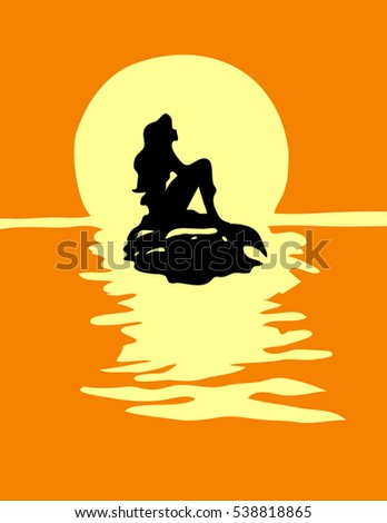 mermaid girl silhouette with a