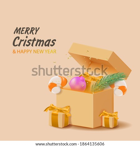 Merry christmas and happy new year. Background with gift boxes, garlands. Vector illustration