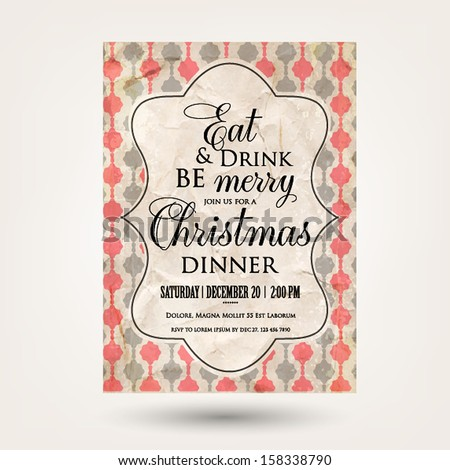 Merry Christmas and Happy New Year Invitation.Vector illustration.