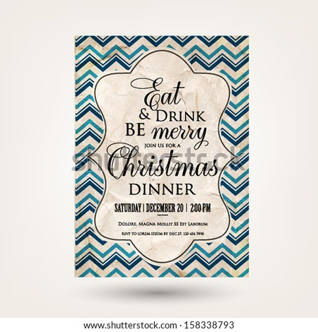 Merry Christmas and Happy New Year Invitation.Vector illustration