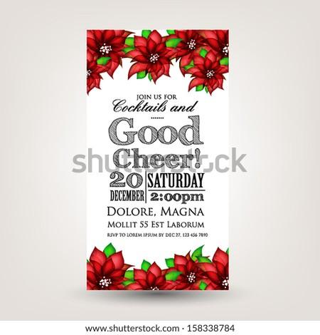 Merry Christmas and Happy New Year Invitation.Vector illustration. Poinsettia