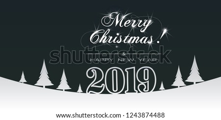 Merry Christmas and Happy New Year paper banner. Christmas banner with cut out Christmas trees, sign 2019 and the inscription Marry Christmas and Happy New Year.