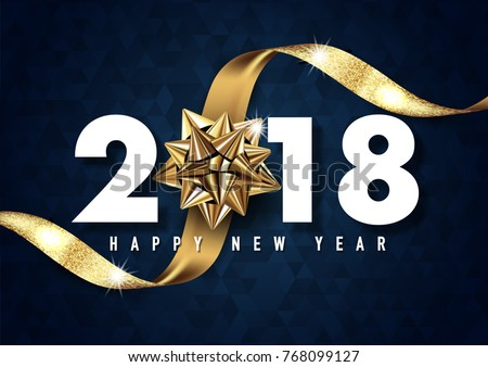 2018 merry christmas and happy new year vector greeting card and poster design with golden ribbon