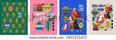 2021! Merry Christmas and Happy New Year! Vector trendy abstract illustrations for holiday graphic design: santa claus, fox, christmas tree, christmas tree toy, ornament. Drawings for poster
