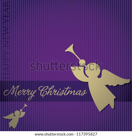 """Merry Christmas"" Angel card in vector format. - stock vector"