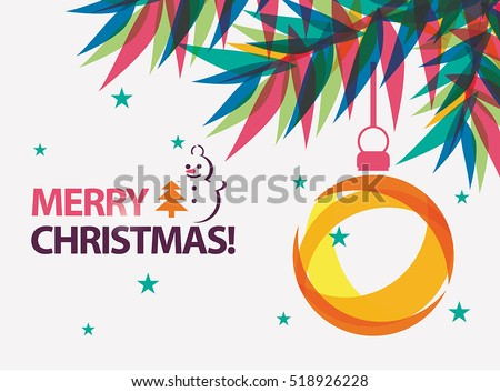 Merry Christmas Card Vector Illustration In Modern Vibrant Style
