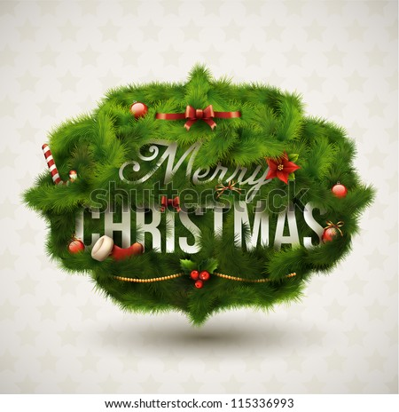 """Merry Christmas"", Creative label. Vector Illustration. - stock vector"