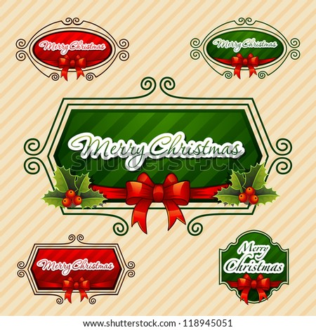 -Merry Christmas-, Creative label. Vector Illustration