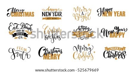 golden christmas wishes vector - Merry Christmas And Happy New Year Clip Art