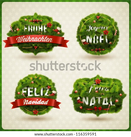 """Merry Christmas"" in different languages (German, Spanish, French, Portuguese). Creative Christmas label. - stock vector"