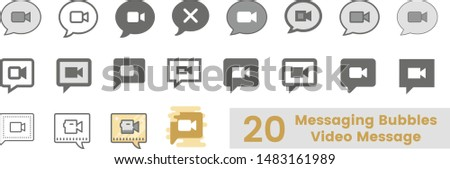 20 Messaging Bubbles Video Message text message vector icon, speech bubble symbol. Modern, simple flat vector illustration for web site or mobile app . Trends UI-Ux kit
