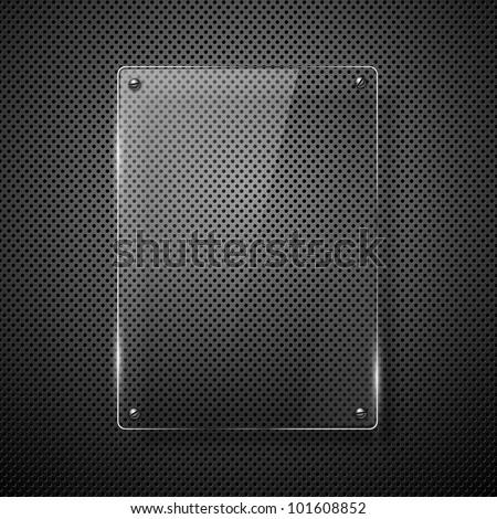 Metallic background with glass framework. Vector illustration.