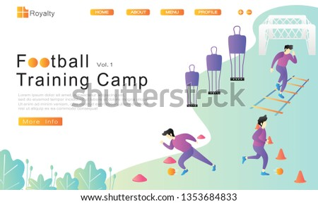 3 methode soccer practice, dribble through cone hurdles, sprint through mini cone hurdles and agility ladder tools. goal and soccer wall. Vector illustration flat cartoon. website, landing page, ui