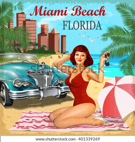 miami beach  florida retro
