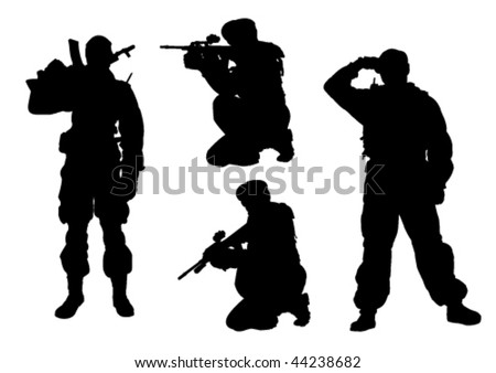 4 military men silhouettes