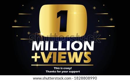 1 million Views vector post 1 million celebration. 1 million views. thank you congratulation. Stock fotó ©