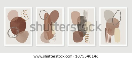Minimal and Gold abstract wall arts vector collection.  Soft earth tones color, Organic shape hand draw arts brush design for wall framed prints, canvas prints, poster, home decor, cover, wallpaper.