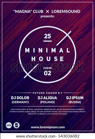 """Minimal house"" party poster. Futuristic flyer design. Dark background with line shapes in motion. Eps10 vector template."