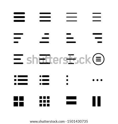 Minimal Set of Hamburger Menu Flat Icons. Menu Icons Vector Set of UI Design Elements. Interface Design Vector Icon Set of hamburger Menu. Website Navigation Icons for Mobile App and User Interface.